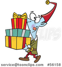 Cartoon Christmas Elf Carrying a Stack of Presents by Toonaday
