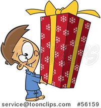 Cartoon Brunette White Boy Holding a Big Christmas Gift by Toonaday