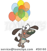 Cartoon Brown Dog Floating with a Bunch of Party Balloons by Toonaday