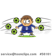Cartoon Nervous Goal Tender White Boy with Soccer Balls Flying at Him by Toonaday