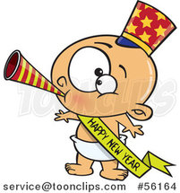Cartoon White New Year Baby Blowing a Horn, Wearing a Top Hat and a Banner by Toonaday