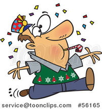 Cartoon Festive Brunette White Guy Blowing a Noise Maker and Jumping in Confetti on New Years by Toonaday