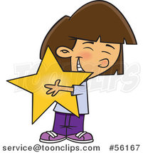 Cartoon Brunette White Girl Hugging a Star by Ron Leishman