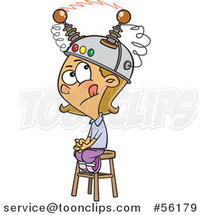 Cartoon White Girl Sitting on a Stool with a Thinking Cap on by Ron Leishman