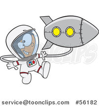 Cartoon Excited White Astronaut Boy Floating by a Rocket in Outer Space by Ron Leishman