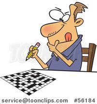 Cartoon Focused White Guy Working on a Crossword Puzzle by Toonaday