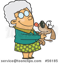 Cartoon White Granny Senior Lady Holding a Dog by Toonaday