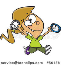Cartoon on Time White Girl Running with Clocks by Ron Leishman