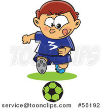 Cartoon Focused Sporty White Boy Playing Soccer by Ron Leishman
