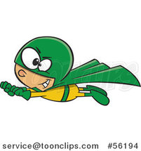 Cartoon White Super Hero Boy in Flight, in a Yellow and Green Suit by Ron Leishman