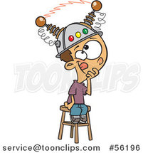 Cartoon White Boy Sitting on a Stool with a Thinking Cap on by Ron Leishman