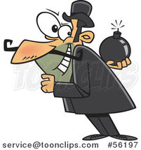 Cartoon White Villainous Guy Holding a Bomb Behind His Back by Ron Leishman