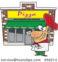 Cartoon Proud White Pizza Restaurant Chef by Ron Leishman