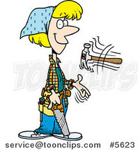 Cartoon Female Carpenter Holding a Saw and Tossing a Hammer by Ron Leishman