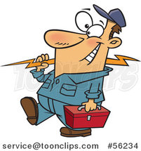 Cartoon White Electrician Walking with a Bolt and Tool Box by Toonaday