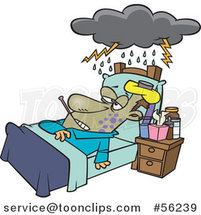Cartoon Really Sick Guy Resting in Bed, with a Cloud over Him by Ron Leishman