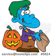 Cartoon Frankenstein Boy Trick or Treating by Ron Leishman