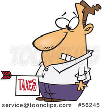 Cartoon Disturbed White Guy with a Taxes Arrow in His Belly by Ron Leishman