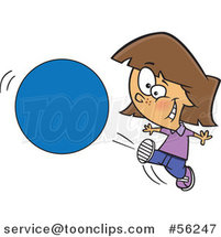 Cartoon Brunette White Girl Kicking a Ball or Circle by Ron Leishman