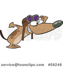 Cartoon Brown Pilot Dog Wearing Goggles and Peering Excitedly to the Right by Ron Leishman