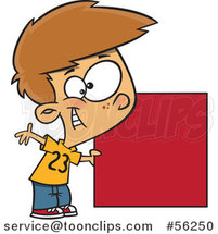 Cartoon White Boy Holding a Red Square or Blank Sign by Ron Leishman