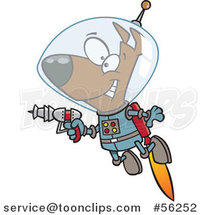 Cartoon Brown Space Dog Flying with a Jet Pack and Holding a Ray Gun by Ron Leishman
