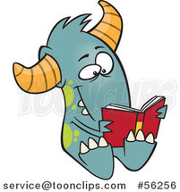 Cartoon Turquoise Monster Reading a Book by Ron Leishman