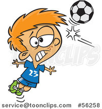 Cartoon Red Haired White Boy Heading a Soccer Ball by Ron Leishman