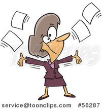 Cartoon White Businesswoman Tossing up Papers and Ready for Retirement by Ron Leishman