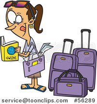 Cartoon Excited Traveling Brunette White Lady Reading a Guide by Luggage by Ron Leishman