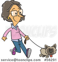 Cartoon White Lady Happily Walking Her Little Dog by Ron Leishman