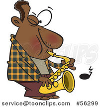 Cartoon Black Musician Playing a Saxophone by Ron Leishman
