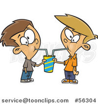 Cartoon Brunette and Blond White Boys Sharing a Soda by Toonaday