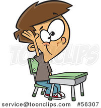 Cartoon Brunette White School Boy Raising His Hand at a Desk by Toonaday