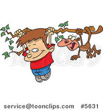 Cartoon Boy and a Monkey Hanging from a Tree Branch by Toonaday