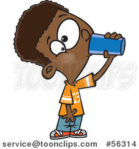 Cartoon Thirsty Black Boy Drinking from a Cup by Toonaday