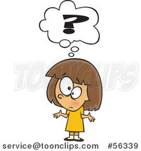 Cartoon Confused Brunette White Girl Shrugging Under a Question Mark by Ron Leishman