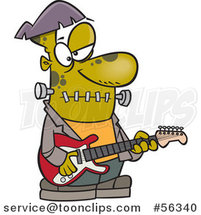 Cartoon Frankenstein Playing a Guitar by Ron Leishman