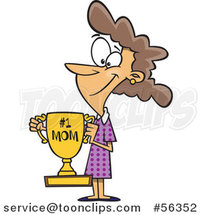 Cartoon Brunette White Mom Holding a Trophy by Toonaday