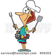 Cartoon White Barbeque Queen Lady with Utensils and Condiments by Ron Leishman