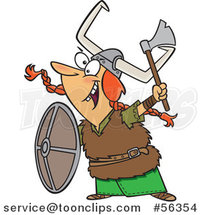 Cartoon Excited Red Haired White Female Viking Ready for Battle by Ron Leishman