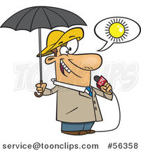 Cartoon White Weather Guy Lying About Sunny Weather but Ready for Rain by Toonaday
