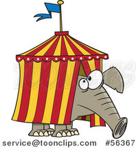 Cartoon Circus Elephant Stuck in a Big Top Tent by Toonaday