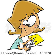 Cartoon Dirty Blond White Girl or Lady Cutting a Piece of Yellow Paper by Ron Leishman