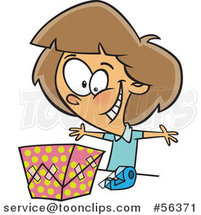 Cartoon Excited Brunette White Girl Wrapping a Gift by Ron Leishman