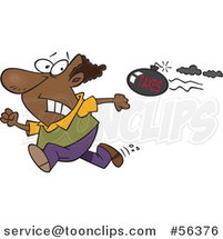Cartoon Tax Evasion Bomb Flying Behind a Running Black Guy by Ron Leishman
