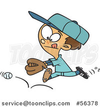 Cartoon Brunette White Boy Chasing a Bouncing Baseball by Ron Leishman