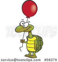 Cartoon Tortoise Turtle Holding a Red Party Balloon by Ron Leishman