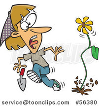 Cartoon Flower Springing up and Scaring a Dirty Blond White Lady in a Garden by Toonaday