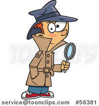 Cartoon Red Haired White Detective Boy Holding a Magnifying Glass by Toonaday